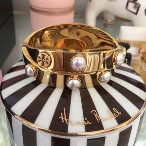 TORY BURCH Pearl & Gold Metal double-wrap bracelet